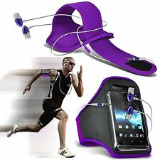 Quality Sports Armband Gym Running Phone Case Cover+In Ear Headphones✔Purple