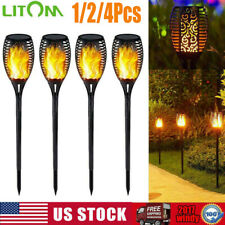 1/4 Pack 33LED Flickering Landscape Solar Lamp Dancing Flame Torch Garden Light