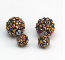 GLITTER SPARKLING AMBER/GOLD SHAMBALLA  STYLE DOUBLE BALL STUD EARRINGS 16MM