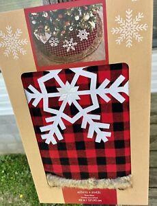 Allen Roth 48In.Christmas Tree Skirt*NIB*Red/Black Checks Faux Fur And Snowflake