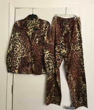 Frederick's Of Hollywood Silky Pajama Set Long Sleeves Button Down Shirt Pants S