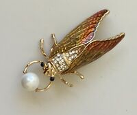 Vintage style Cicada brooch enamel on metal with crystals