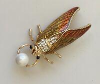 Vintage style Cicada brooch enamel on metal with crystals