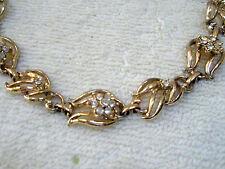 Vintage Goldtone Choker Style Necklace Rhinestone Flowers