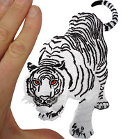 White Tiger Iron On Patch Sew On Cloth Animal Cat Lion Panther Embroidered Badge