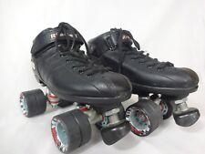 Riedell BLACK R3 Speed Roller Skates PowerDyne Thrust Radar Cayman Mens Size 9