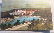 1938 Color Linen Postcard Mohonk Mountain House and Lake from Sky Top