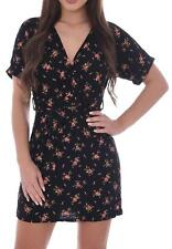 Womens Ladies Floral Batwing Wrap Over V- Neck Tie Waist Midi Dress Plunge