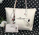 COACH Snoopy peanuts City Zip Tote F37273 Leather Shoulder Bag purse+wristlet