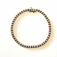 "10k yellow gold 1.62ct diamond SI2 H tennis bracelet 7"" vintage estate 9g womens"
