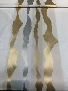P Kaufmann Geoscape Stripe White Gold 118' double width Fabric By the yard