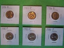 1982 P&D, 1983 P&D, 1986 P&D Jefferson Nickel Key Year Set in 2X2 holders