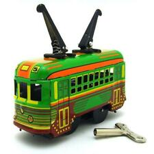 MS252 Tram Trolley Vehicle Car Retro Clockwork Wind Up Tin Toy Collectible