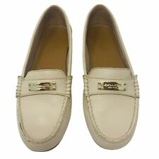 Coach Fredrica Bone Pebbled Leather Driving Mocs Loafers Shoes Women's 8B