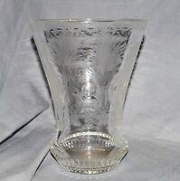 Vase Bechervase Bleikristall, Glasschnitt, Jagdmotive, Rocaillen, 1950 1960,18cm