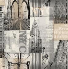 Wallpaper Designer Taupe Tan Gray Black  NYC New York City Landmarks