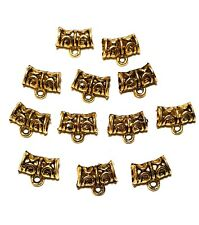 12 x Antique Gold Tone Pendant Necklace Hangers Jewellery Making Findings