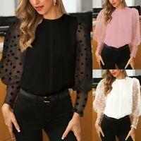 Women's Polka Dot Sheer Mesh Long Puff Sleeve Shirt Tops Loose Casual Blouse Top