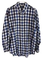 Ralph Lauren Blake Cotton Flannel Shirt Mens Medium Blue Plaid Long Sleeve