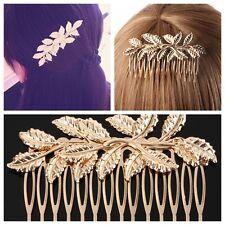 2pcs Wedding Party Bridal Clover Flower Leaf Long Hair Piece Comb Clip Diamante