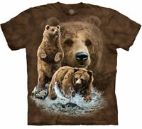 The Mountain Bear Find 10 Brown Bears Grizzly Fish Mama Cotton T-Shirt M-2X