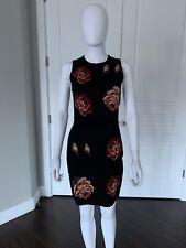 ALEXANDER MCQUEEN Black Roses Stretch Knit Sleeveless Dress Size M $2045 BNWT!
