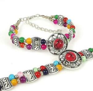 Ladies Jewelry Tibetan Silver Bracelet Ladies Multicolor Turquoise Bangle B24