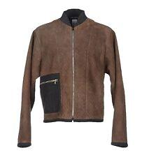 NEW $3900 DOLCE & GABBANA Jacket Coat Brown Gray Leather Mens EU46 / US36 /M