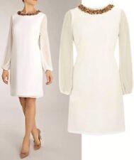 COAST ANTONIA IVORY SHEER CHIFFON SEQUIN BEAD SHIFT DRESS SIZE 8 BNWT £135