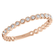 Stackable Right Hand Ladies Ring 1/5 Ct. 10K Rose Gold Bezel Set Diamond Round