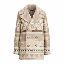 $698 Polo Ralph Lauren Womens Double Breasted Wool Southwestern Peacoat Jacket