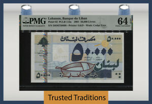 TT PK 82 2001 LEBANON BANQUE DU LIBAN 50000 LIVRES PMG 64 EPQ CHOICE UNC.