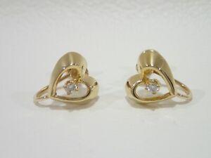 Vintage TIFFANY & CO. 14k & 18k gold Heart with diamond screw back earrings