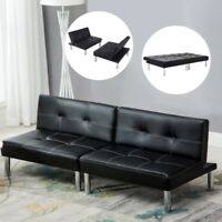 Sleeper Sofa Bed Convertible Leather Couch Adjustable Living Room Futon Black