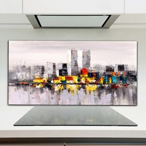 Kitchen Splashback Toughened Glass 120x60 new york abstract colourful water