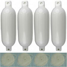 4 Pack 8-1/2 Inch x 27 Inch Double Eye White Inflatable Vinyl Fenders with Lines