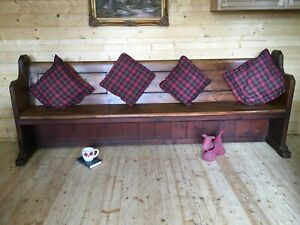 Antique solid pine church pew settle monks bench hall seat large long pew