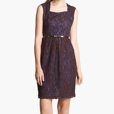 NWT Ellen Tracy Brown And Navy Chic Lace Overlay Belted Sheath Dress Size 2 $128