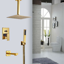 Golden Shower Head Single Handle Valve Faucet W / Hand Shower Hot And Cold Mixer