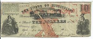 $10 1862 GUTTER Error State Mississippi Red Faith Pledge State Rare #37860