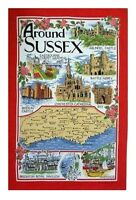 Around Sussex Tea Towel Souvenir Gift Scenes Collage Montage Castle Brighton Map