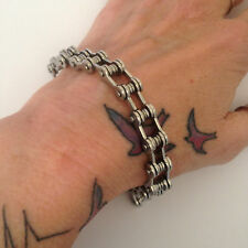 Biker MENS HEAVY STEEL BICYCLE CHAIN WRISTBAND Bracelet Cuff Bike FATHERs DAY