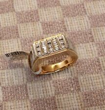 NEW MEN'S 14K YELLOW GOLD .75ct VERTICAL CHANNEL SET DIAMOND RING (size 10.5)