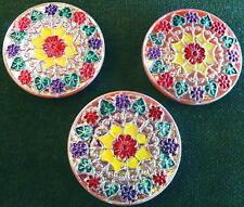 3 Czech Glass IRIDESCENT Buttons #D35 - UNIQUE FLOWERS - LARGE