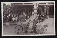 Vintage Antique Photograph Two Men Rriding on Tandem Bicycle Bike