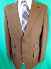 Fabulous Vintage 60s 70s Brown Crimplene Sackville Sports Jacket 38/39 Groovy!!