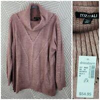 New Roz & Ali Plus Size 2X 18/20 Ribbed Knit Sweater Stretch Pink Cowl Neck