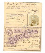 """CARTE """"LE NORD-TOURISTE"""" 1926 POUR LE PASSAGE D'UNE BICYCLETTE A LA DOUANE BELGE"""