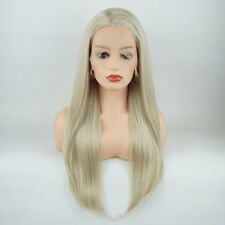 Meiyite Hair Straight Long 24inch Honey Blonde and White Mix Lace Front Wigs