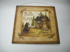Bear Bath House Wooden Bathroom Wall Art Sign Cabin Lodge Lake outhouse decor